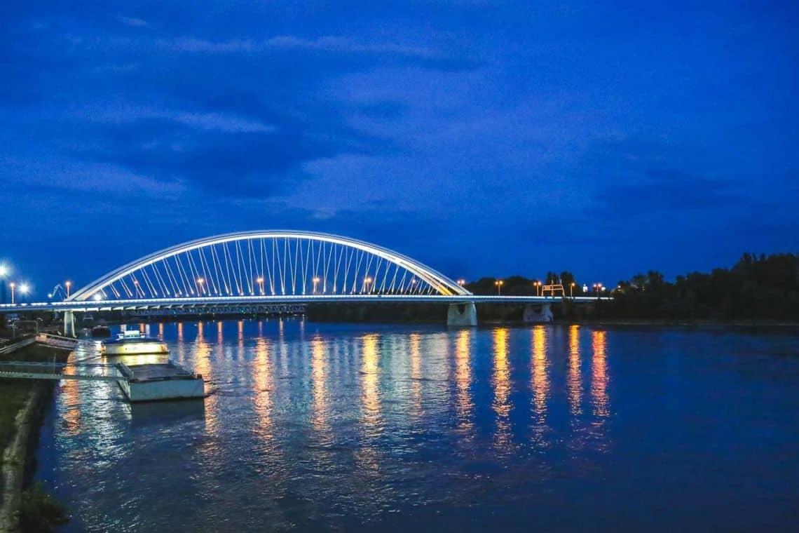 Danube river Bratislava in the evening
