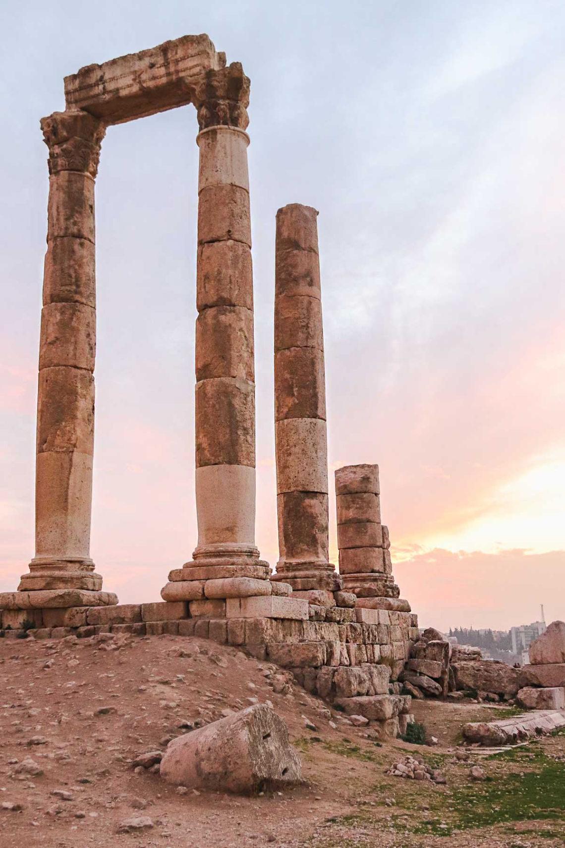 Amman citadel at sunset